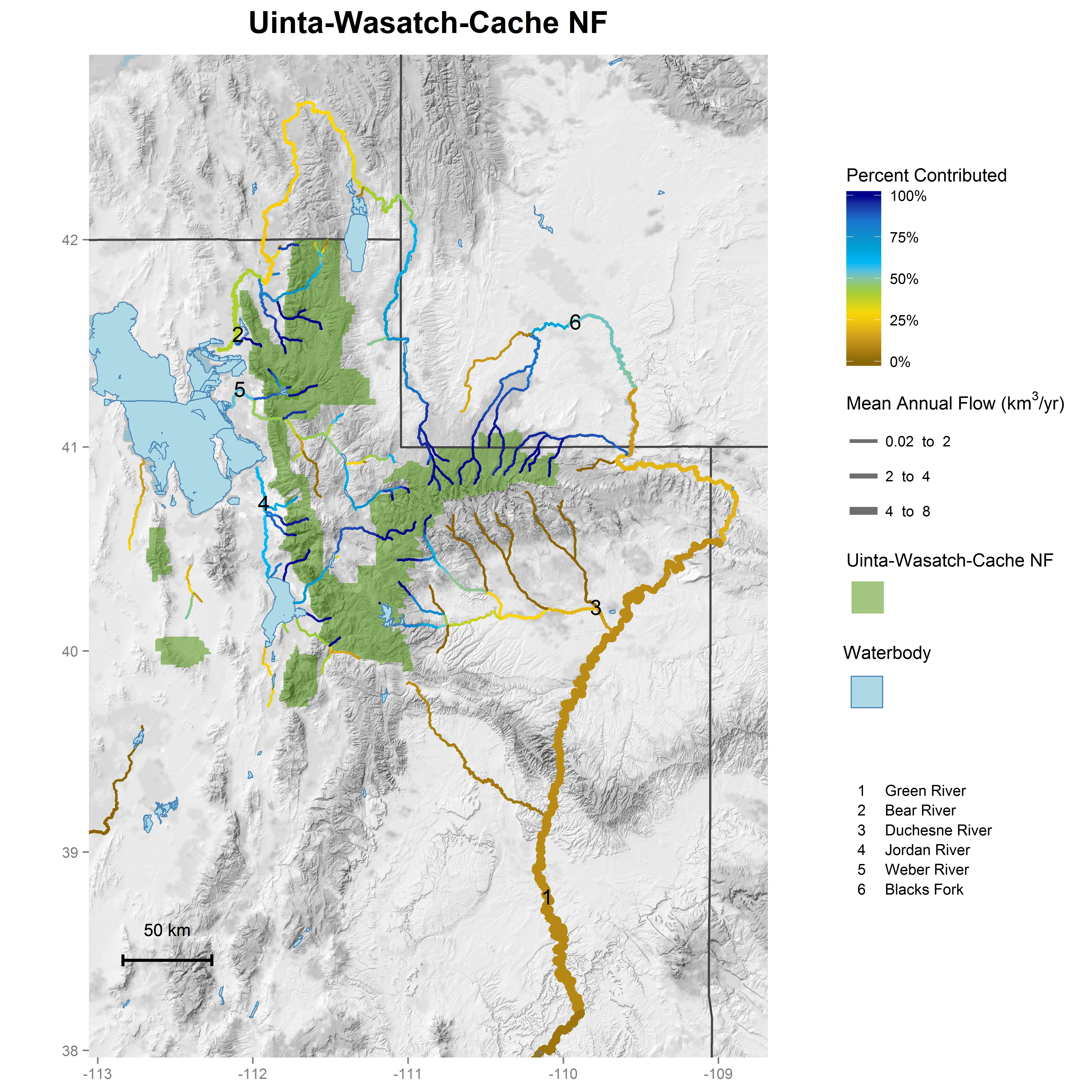 National forest contributions to streamflow: Intermountain ... on uinta national forest map, fishlake national forest map, apache national forest map, utah dixie national forest map, se id national forest map, chattanooga national forest map, wayne national forest trail map, united states national forest map, oklahoma national forest map, roosevelt national forest trail map, caribou national forest map, shawnee national forest map,